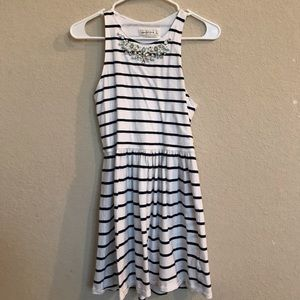White and navy striped dress with beaded neckline